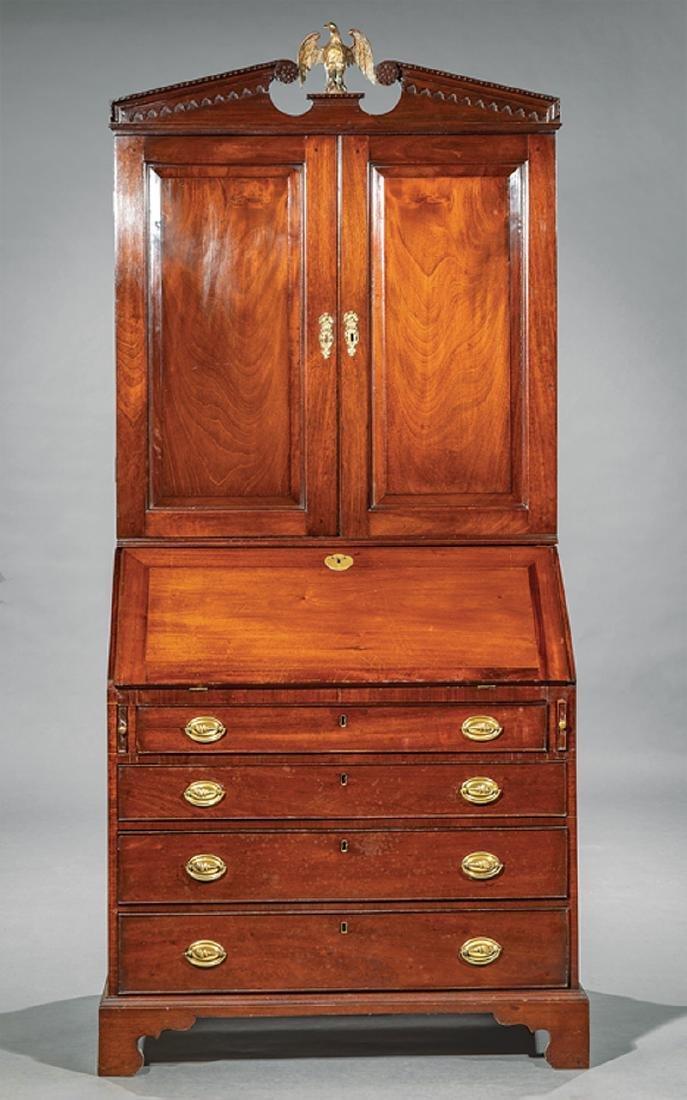 George III-Style Carved Mahogany Secretary Bookcase - 2