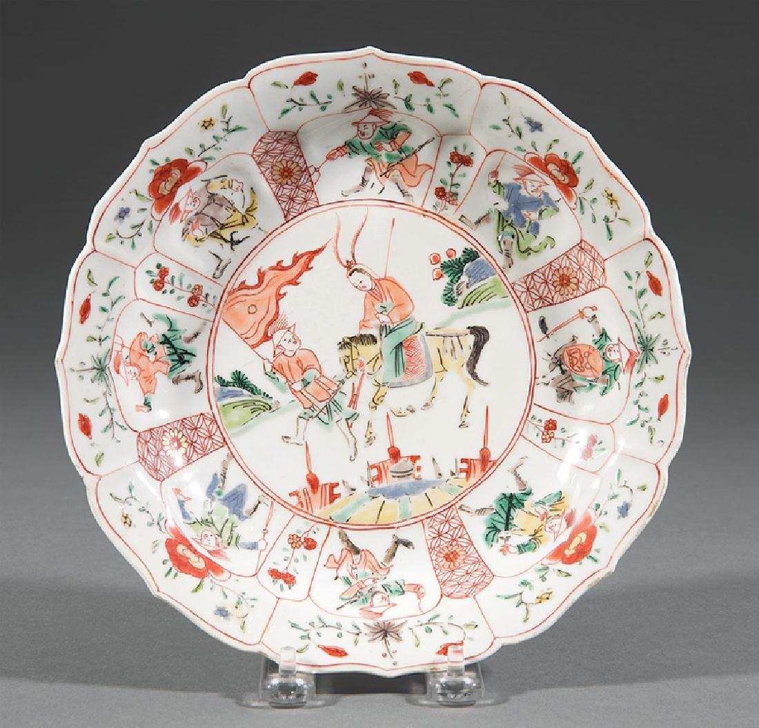 Chinese Famille Verte Molded Porcelain Dish
