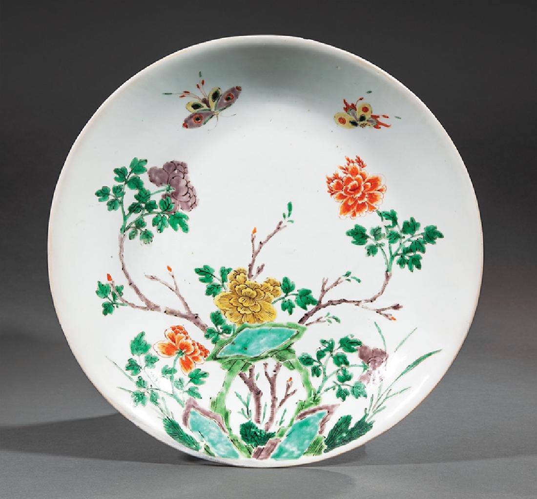 Chinese Famille Verte Porcelain Shallow Bowl