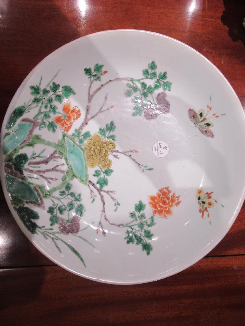 Chinese Famille Verte Porcelain Shallow Bowl - 6