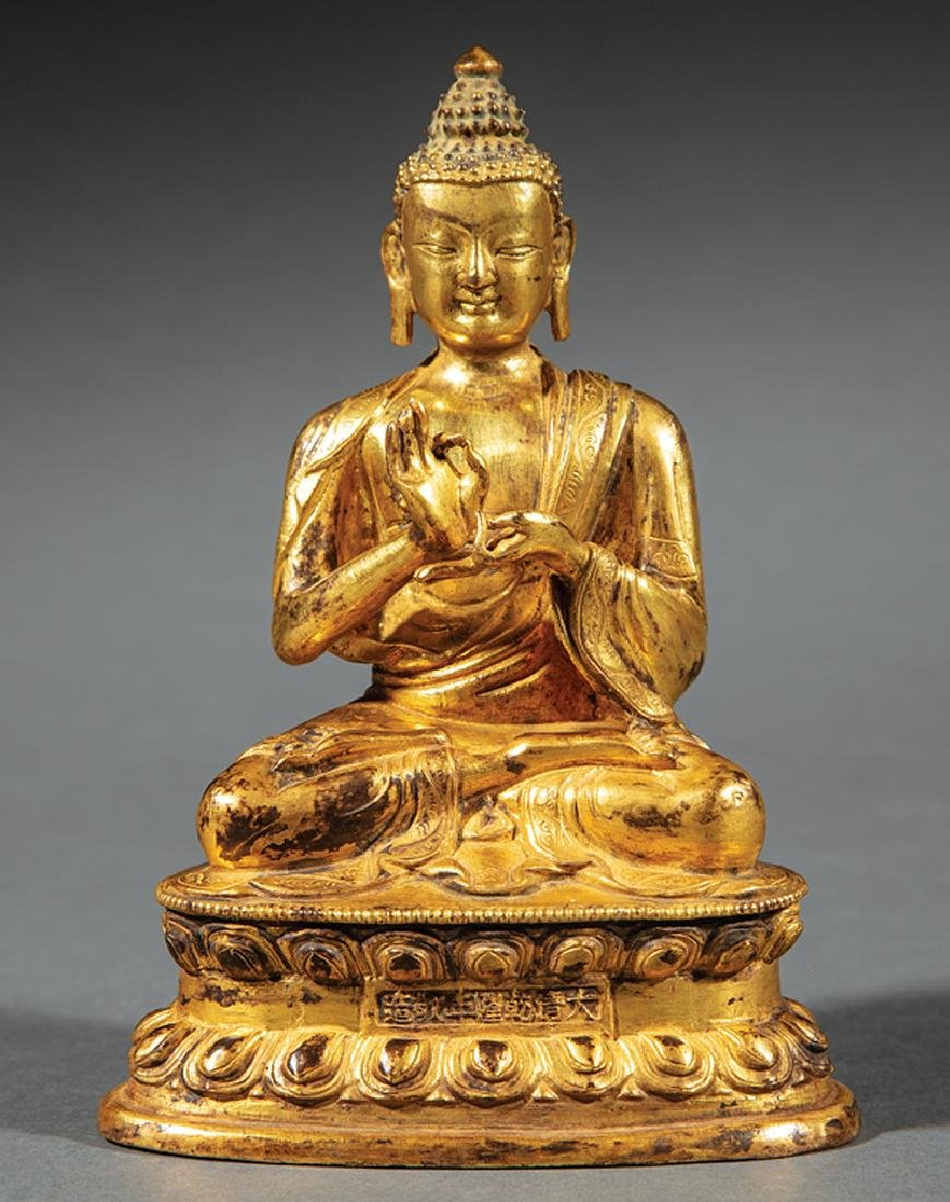 Chinese/Tibetan Gilt Bronze Figure of Buddha