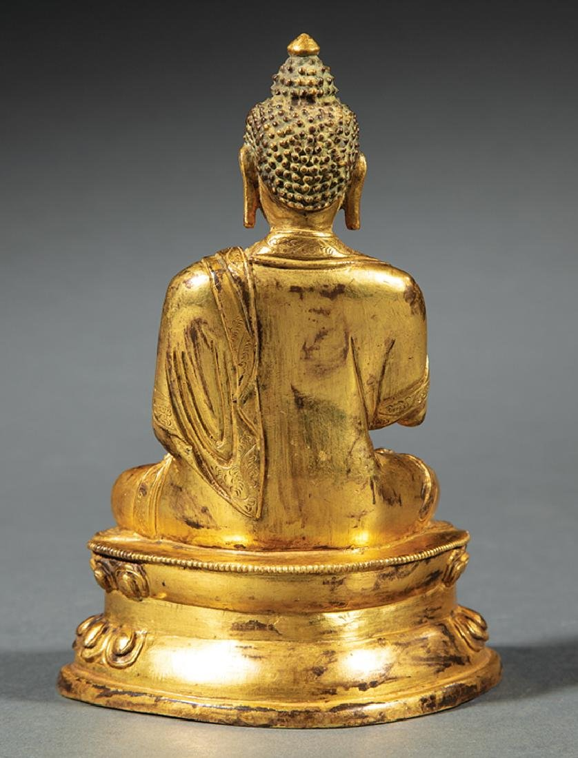 Chinese/Tibetan Gilt Bronze Figure of Buddha - 2