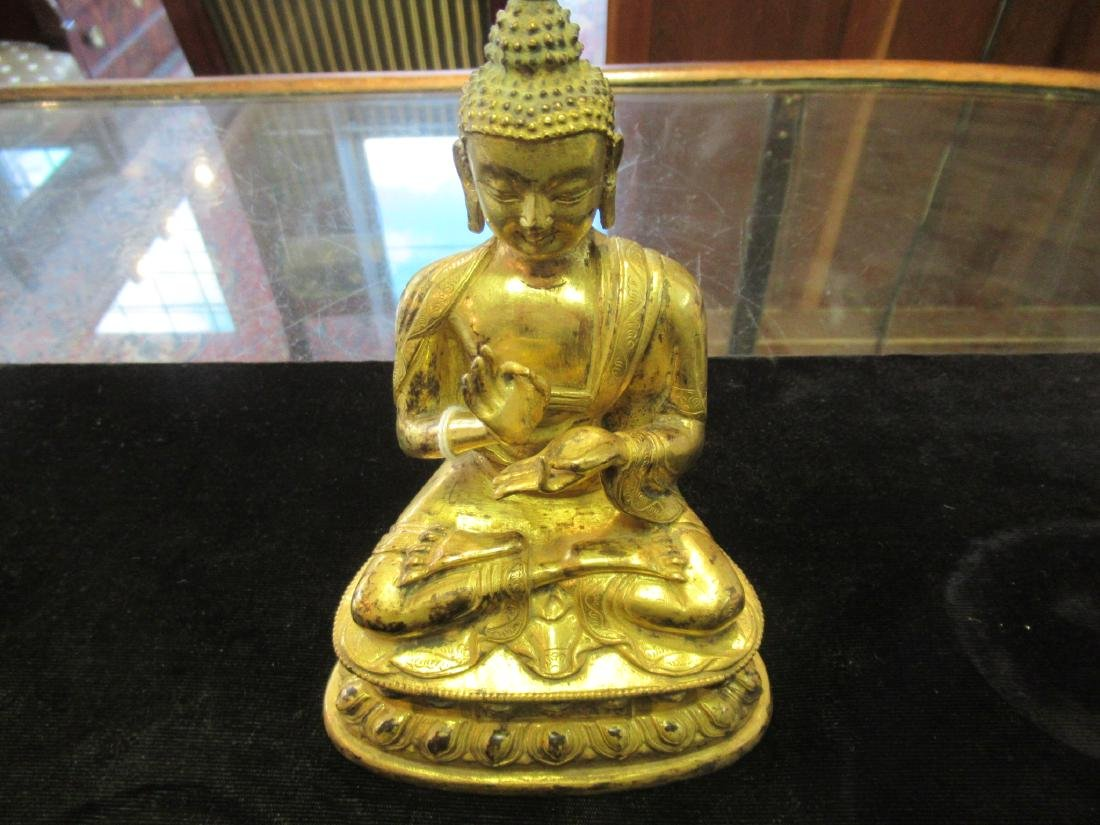 Chinese/Tibetan Gilt Bronze Figure of Buddha - 3