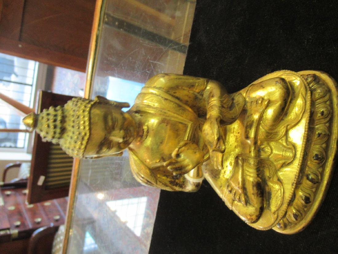 Chinese/Tibetan Gilt Bronze Figure of Buddha - 5