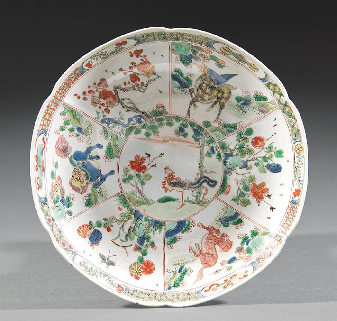 Chinese Famille Verte Porcelain Barbed Rim Dish