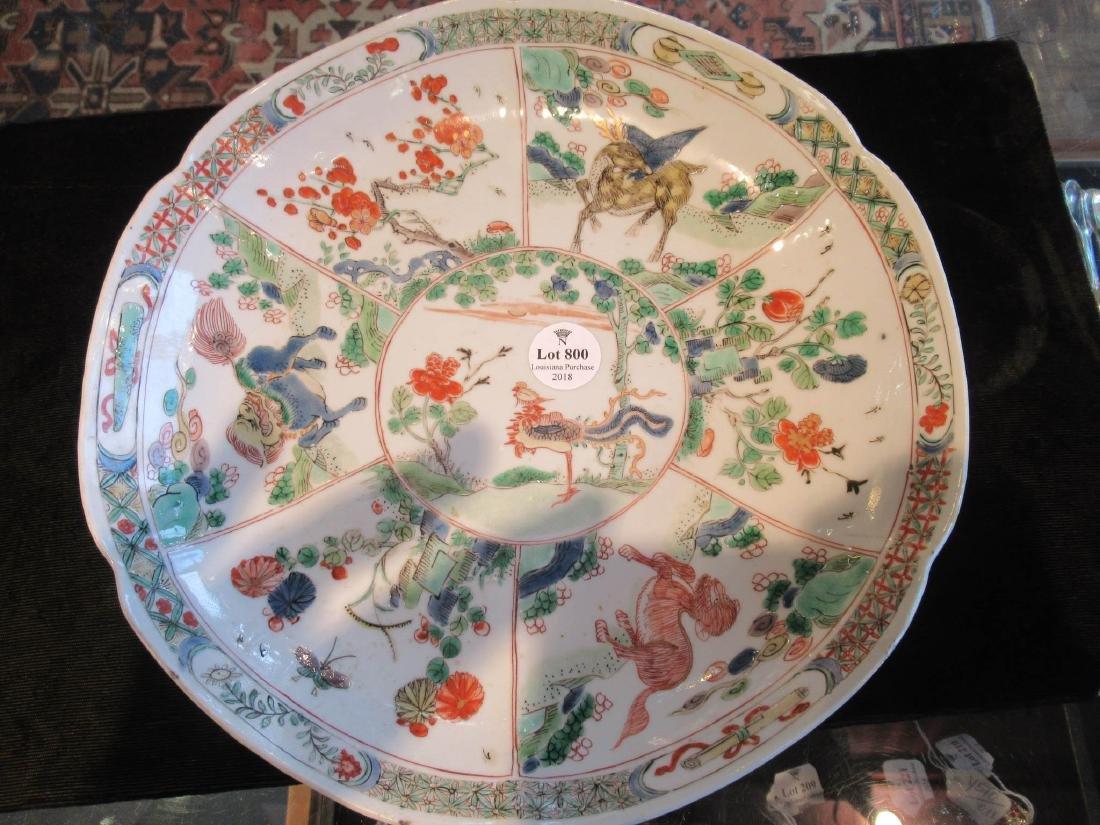 Chinese Famille Verte Porcelain Barbed Rim Dish - 3