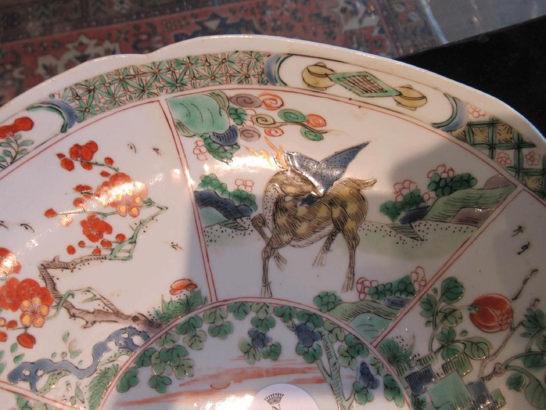 Chinese Famille Verte Porcelain Barbed Rim Dish - 7