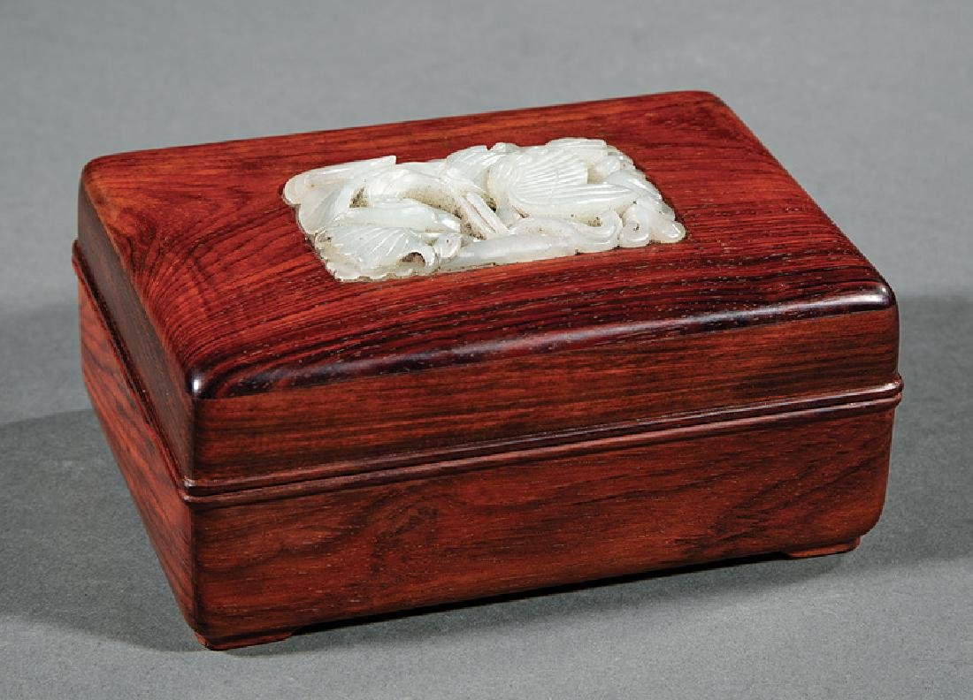 Chinese White Jade Inset Hardwood Covered Box