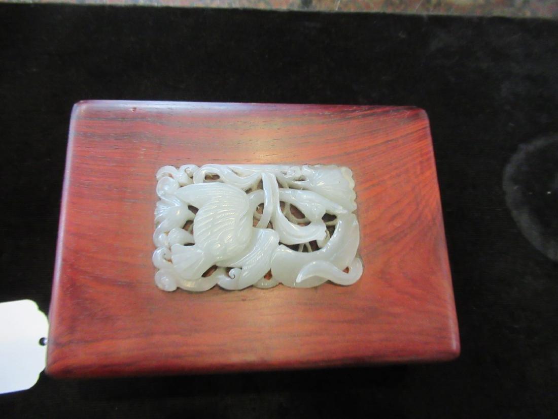 Chinese White Jade Inset Hardwood Covered Box - 3