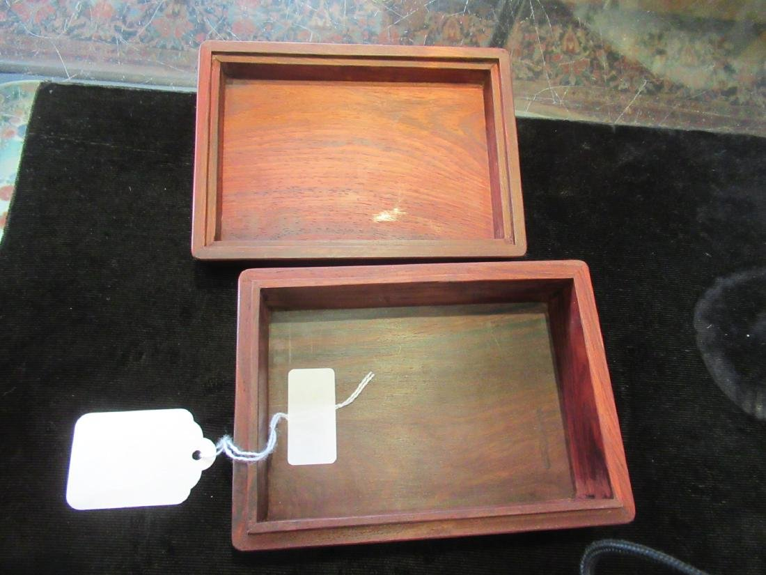 Chinese White Jade Inset Hardwood Covered Box - 4