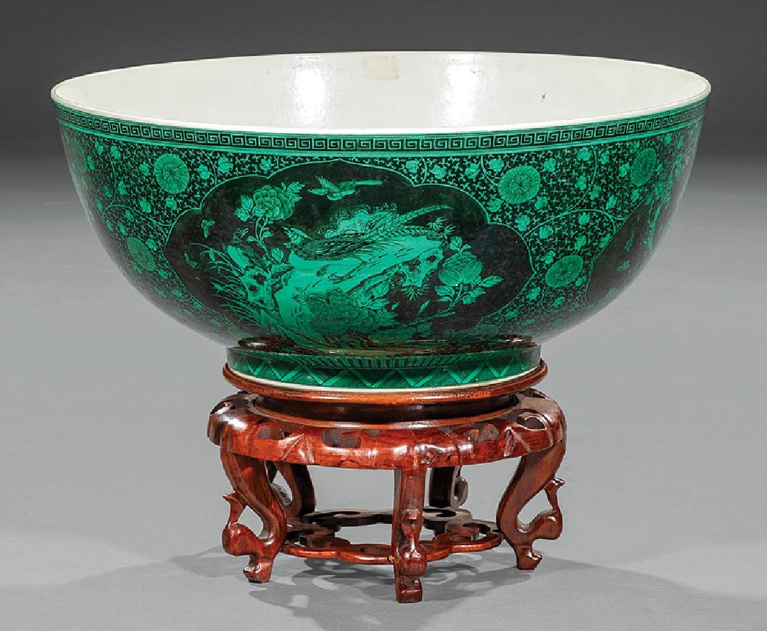 Chinese Black Decorated Green Ground Porcelain Bowl