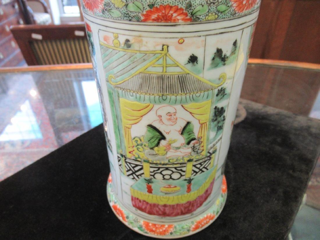 Chinese Famille Verte Porcelain Brush Pot - 3
