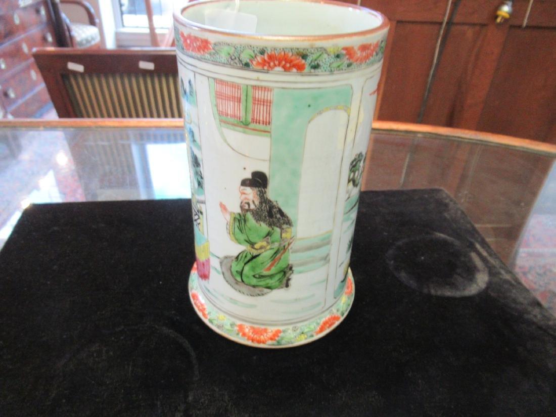Chinese Famille Verte Porcelain Brush Pot - 6