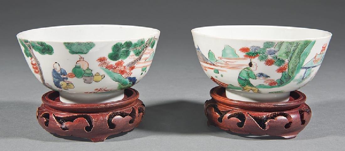 Pair of Chinese Famille Verte Porcelain Bowls