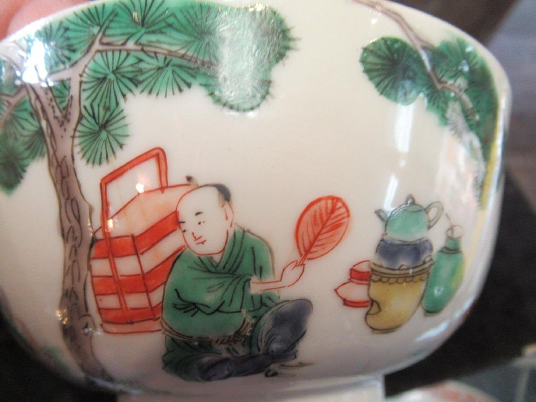 Pair of Chinese Famille Verte Porcelain Bowls - 6