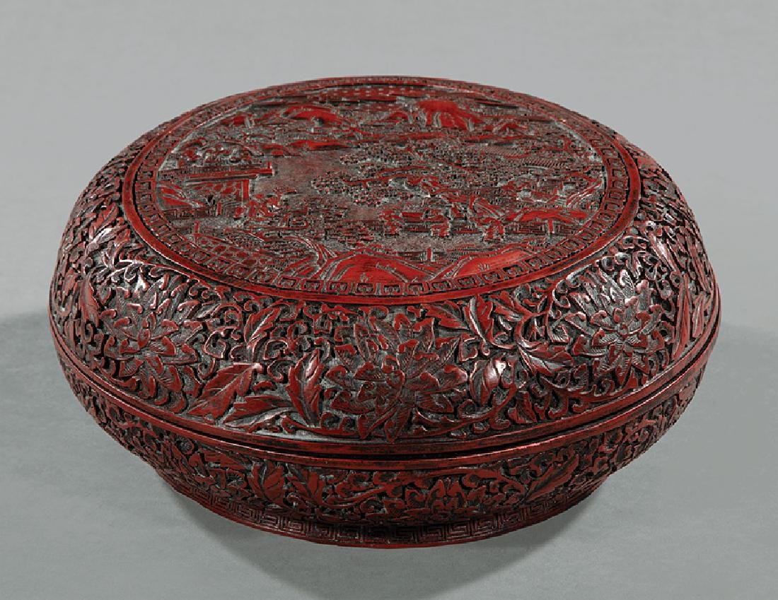Chinese Red and Black Lacquer Box