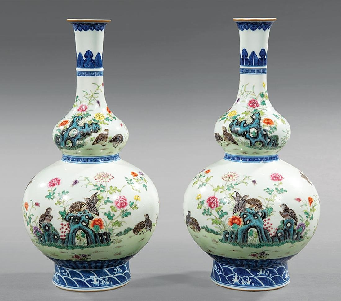 Chinese Famille Rose Decorated Double Gourd Vases