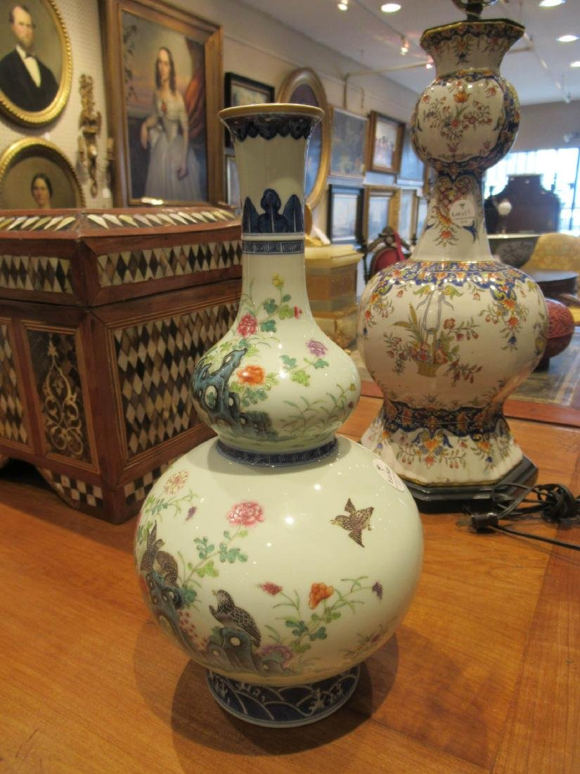 Chinese Famille Rose Decorated Double Gourd Vases - 3