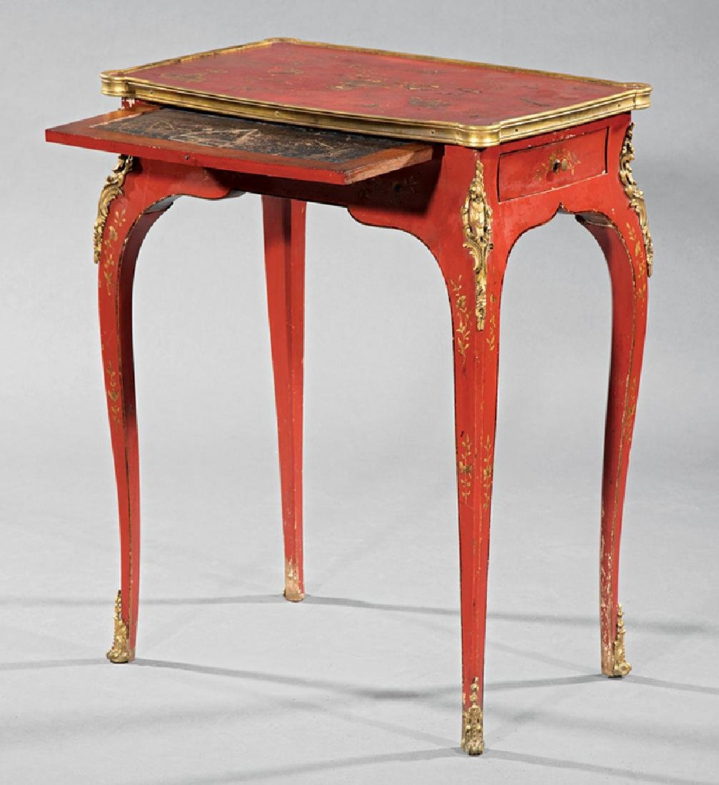 Bronze-Mounted Red Chinoiserie Lacqure Writing Table - 2