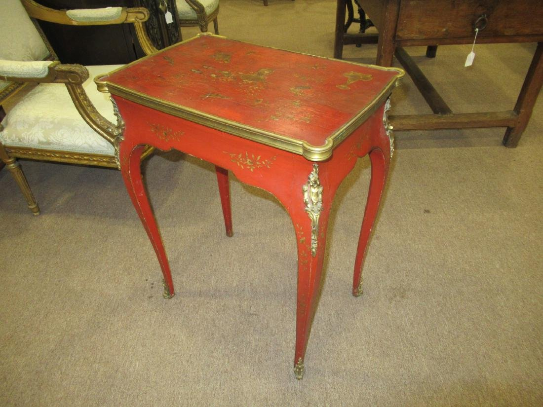 Bronze-Mounted Red Chinoiserie Lacqure Writing Table - 3
