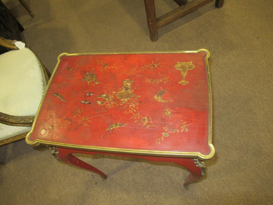 Bronze-Mounted Red Chinoiserie Lacqure Writing Table - 4