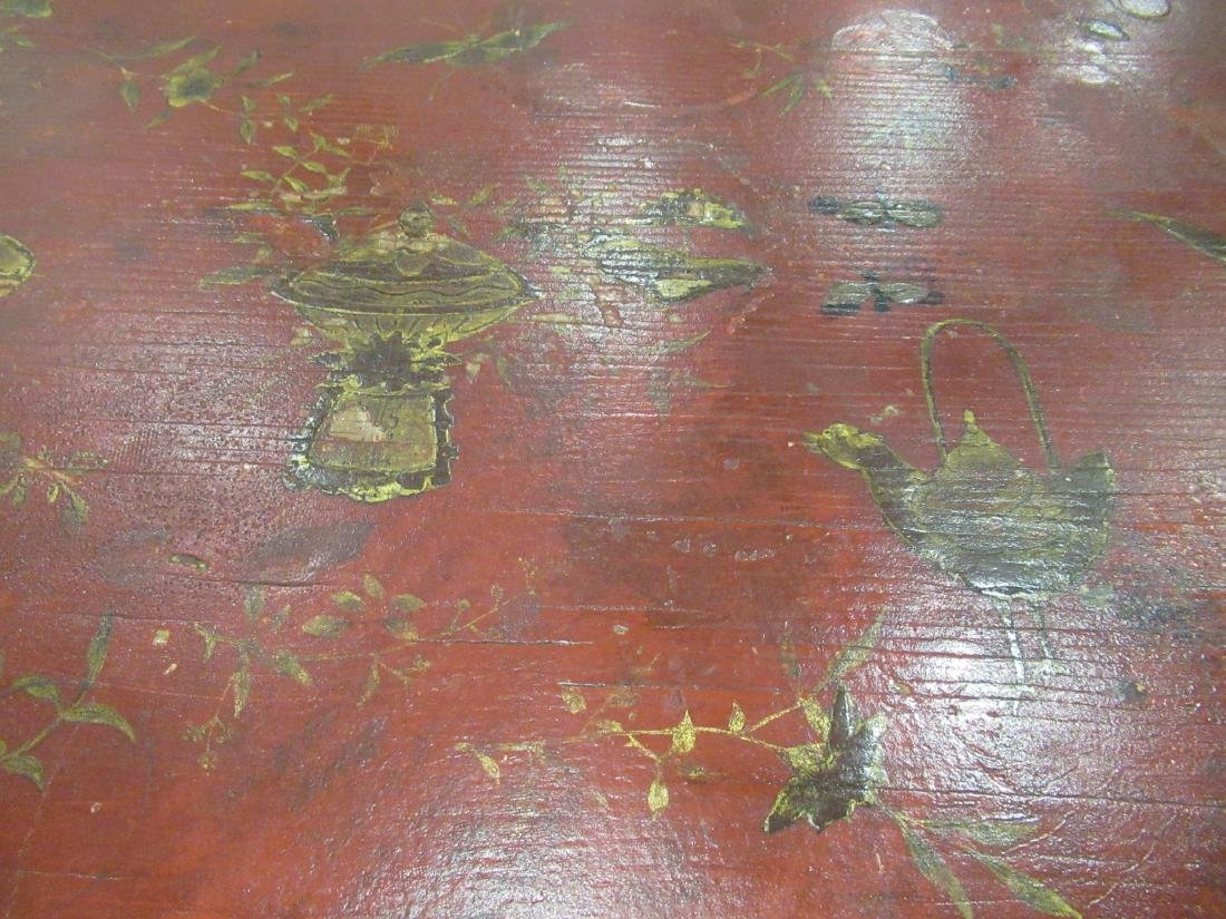 Bronze-Mounted Red Chinoiserie Lacqure Writing Table - 5