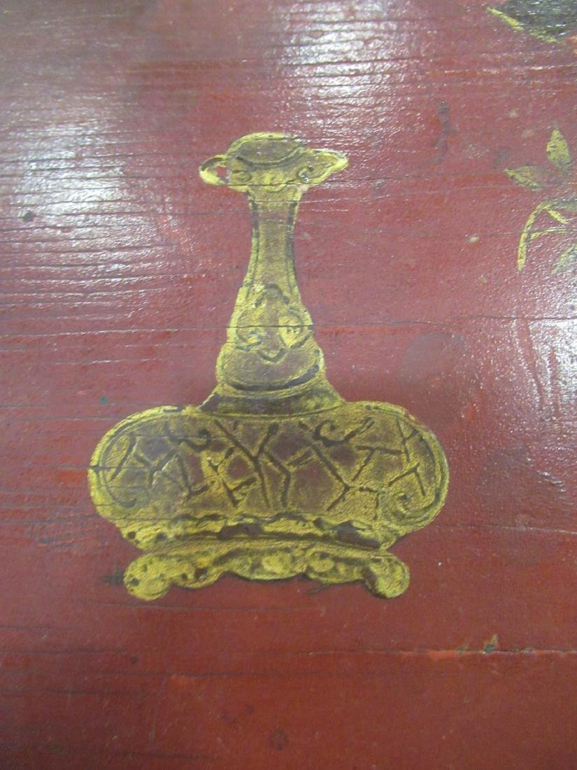 Bronze-Mounted Red Chinoiserie Lacqure Writing Table - 6