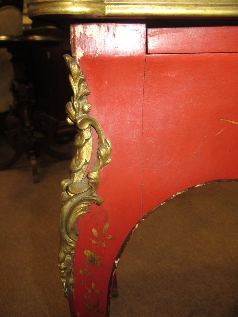 Bronze-Mounted Red Chinoiserie Lacqure Writing Table - 7