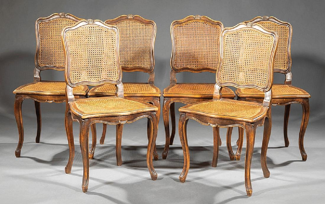 Six Regence-Style Carved Walnut Side Chairs