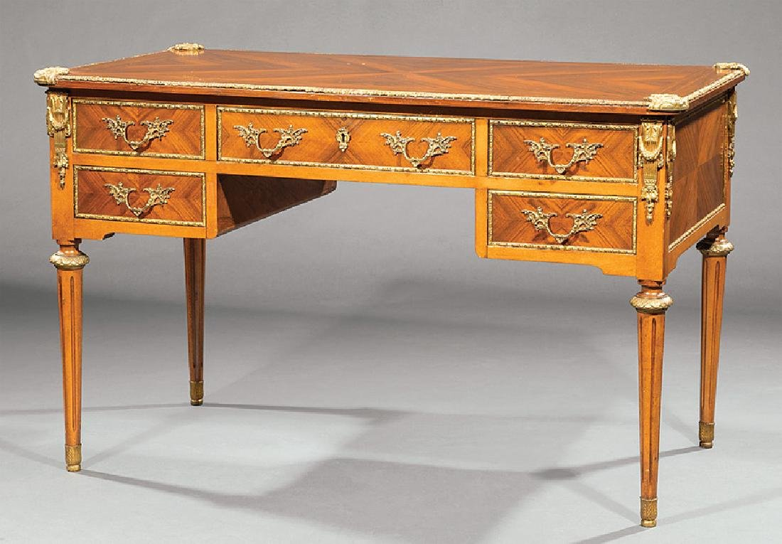 Louis XVI-Style Bronze-Mounted Kingwood Bureau Plat