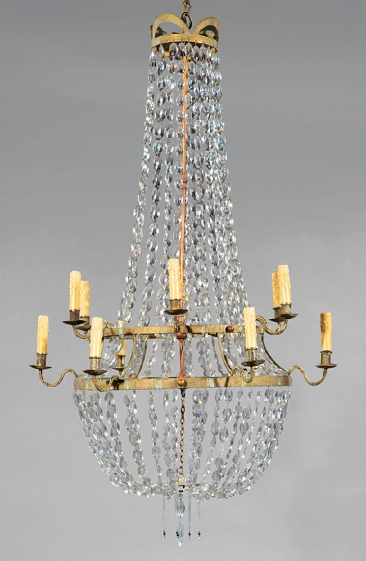Neoclassical-Style Patinated Metal, Crystal Chandelier