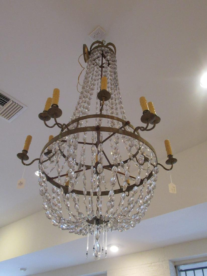Neoclassical-Style Patinated Metal, Crystal Chandelier - 2