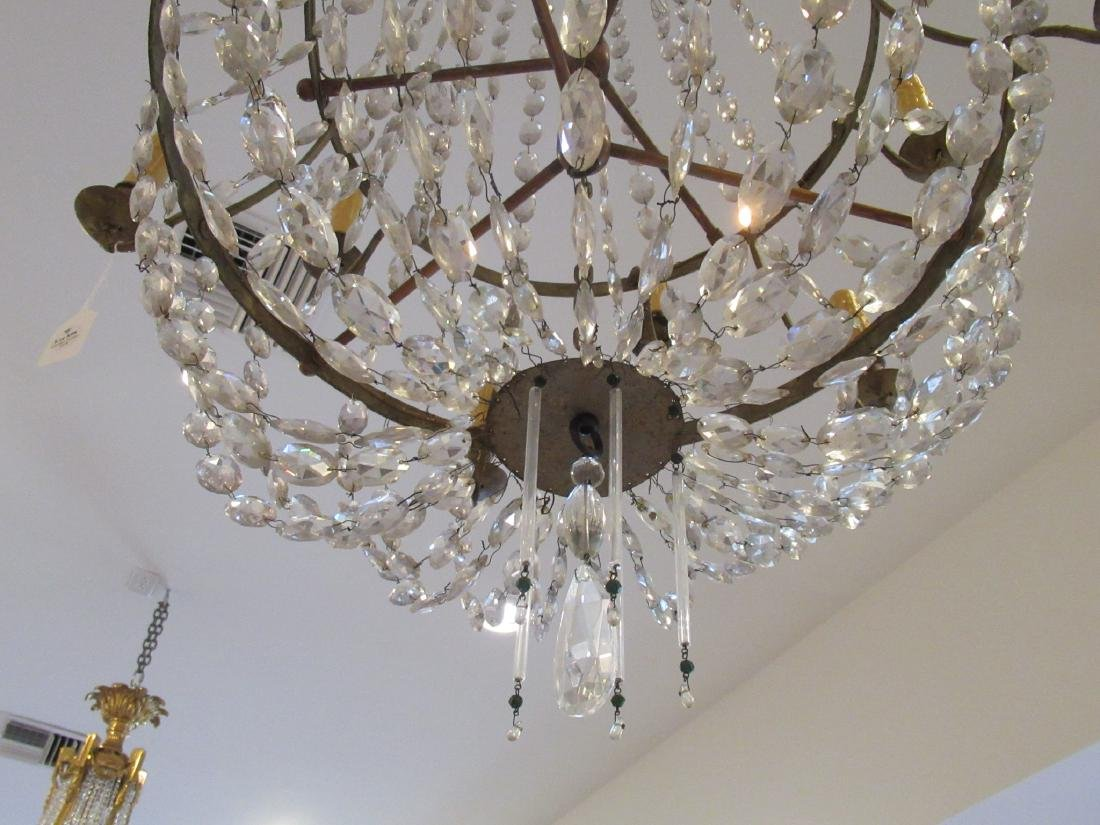 Neoclassical-Style Patinated Metal, Crystal Chandelier - 3