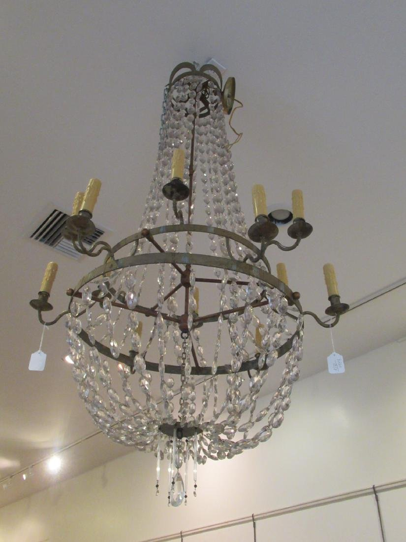 Neoclassical-Style Patinated Metal, Crystal Chandelier - 7