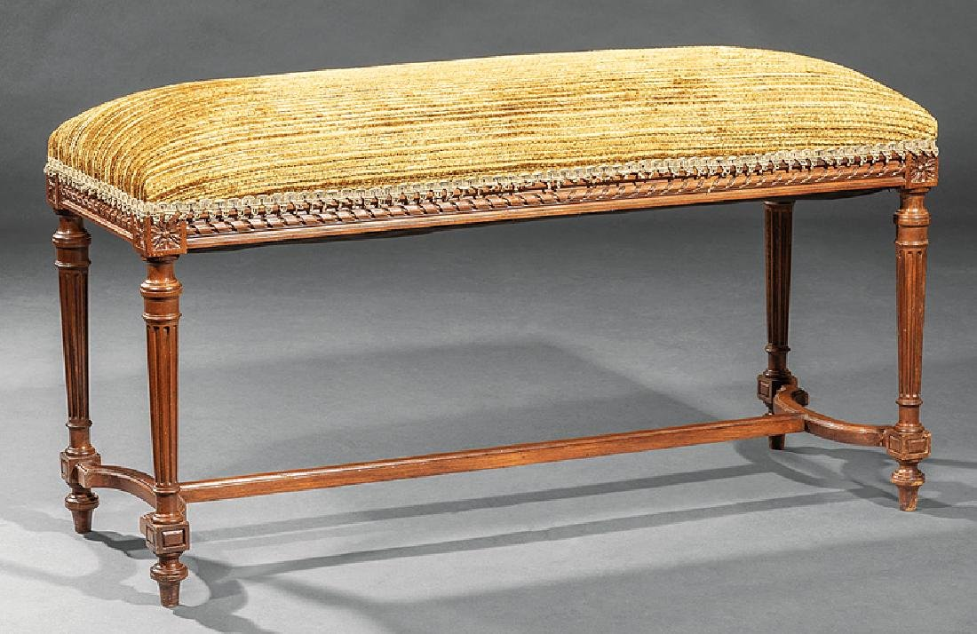 Louis XVI-Style Carved Mahogany Window Bench