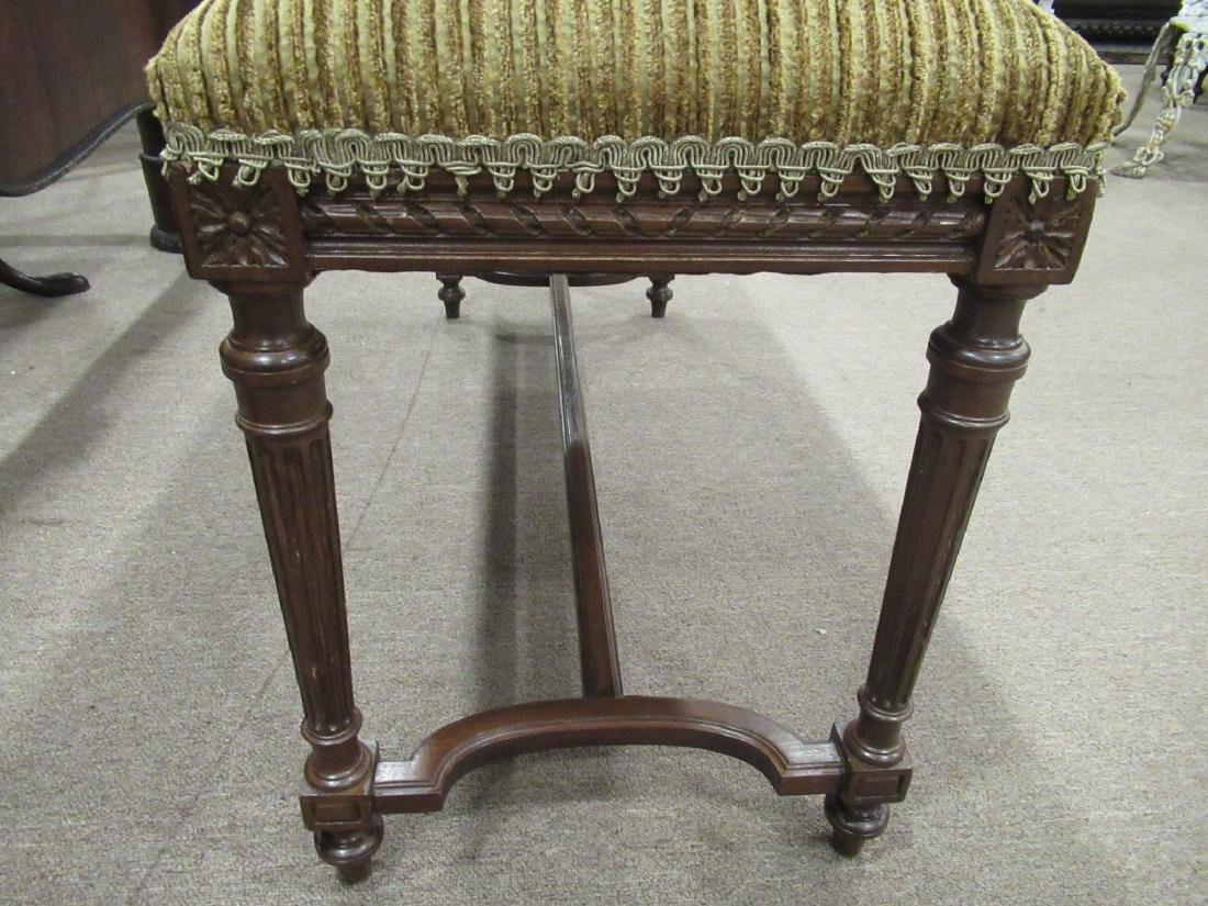 Louis XVI-Style Carved Mahogany Window Bench - 4
