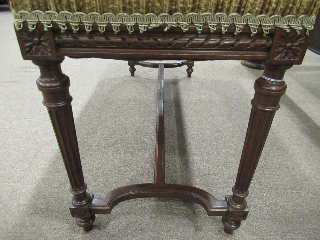 Louis XVI-Style Carved Mahogany Window Bench - 7