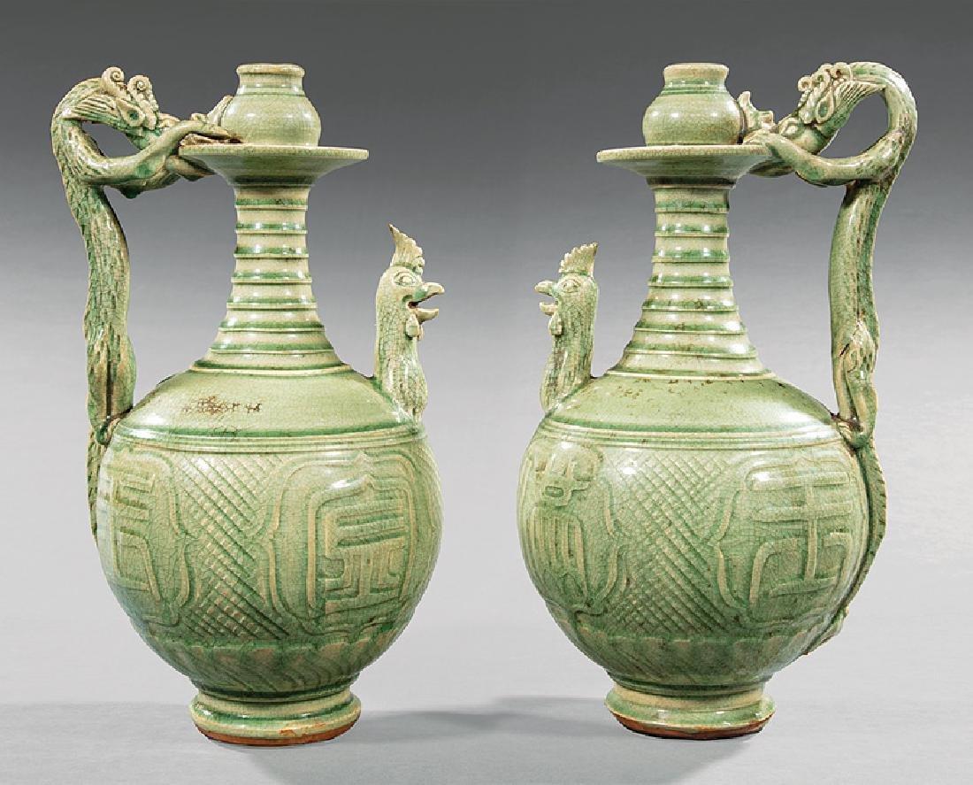 Pair of Chinese Celadon Stoneware Ewers