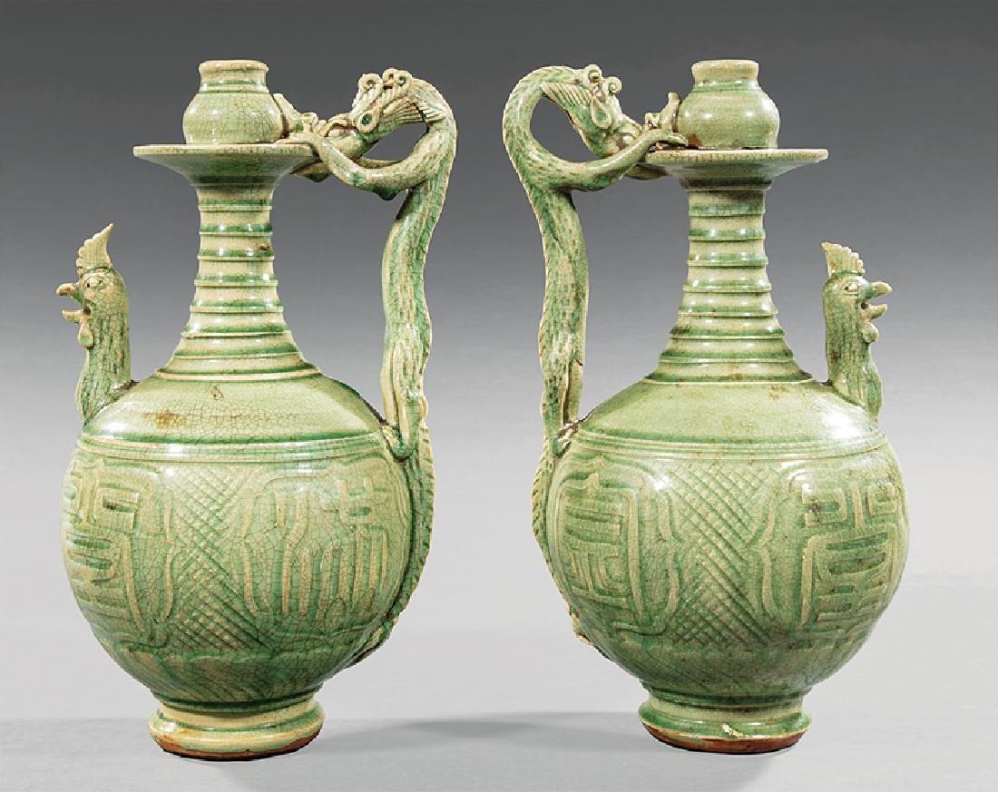 Pair of Chinese Celadon Stoneware Ewers - 2