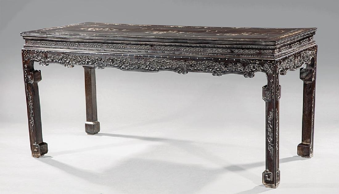 Chinese Mother-of-Pearl Inlaid Hardwood Table