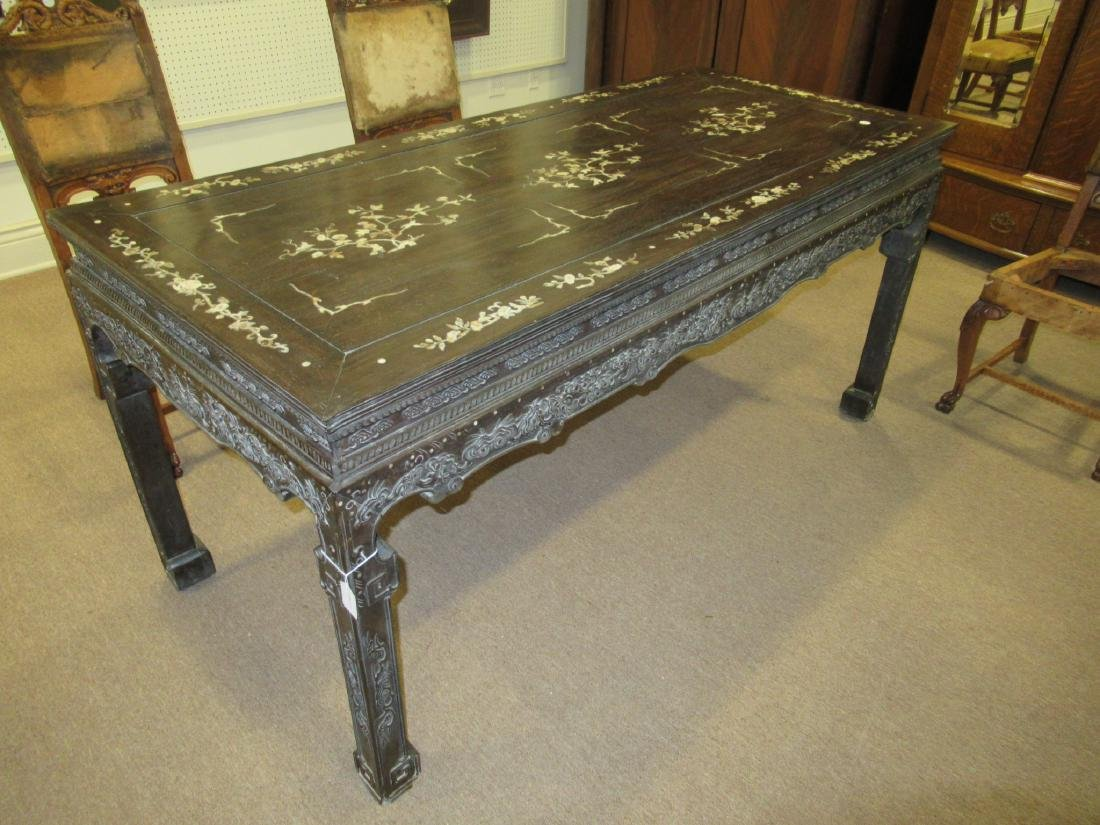 Chinese Mother-of-Pearl Inlaid Hardwood Table - 3