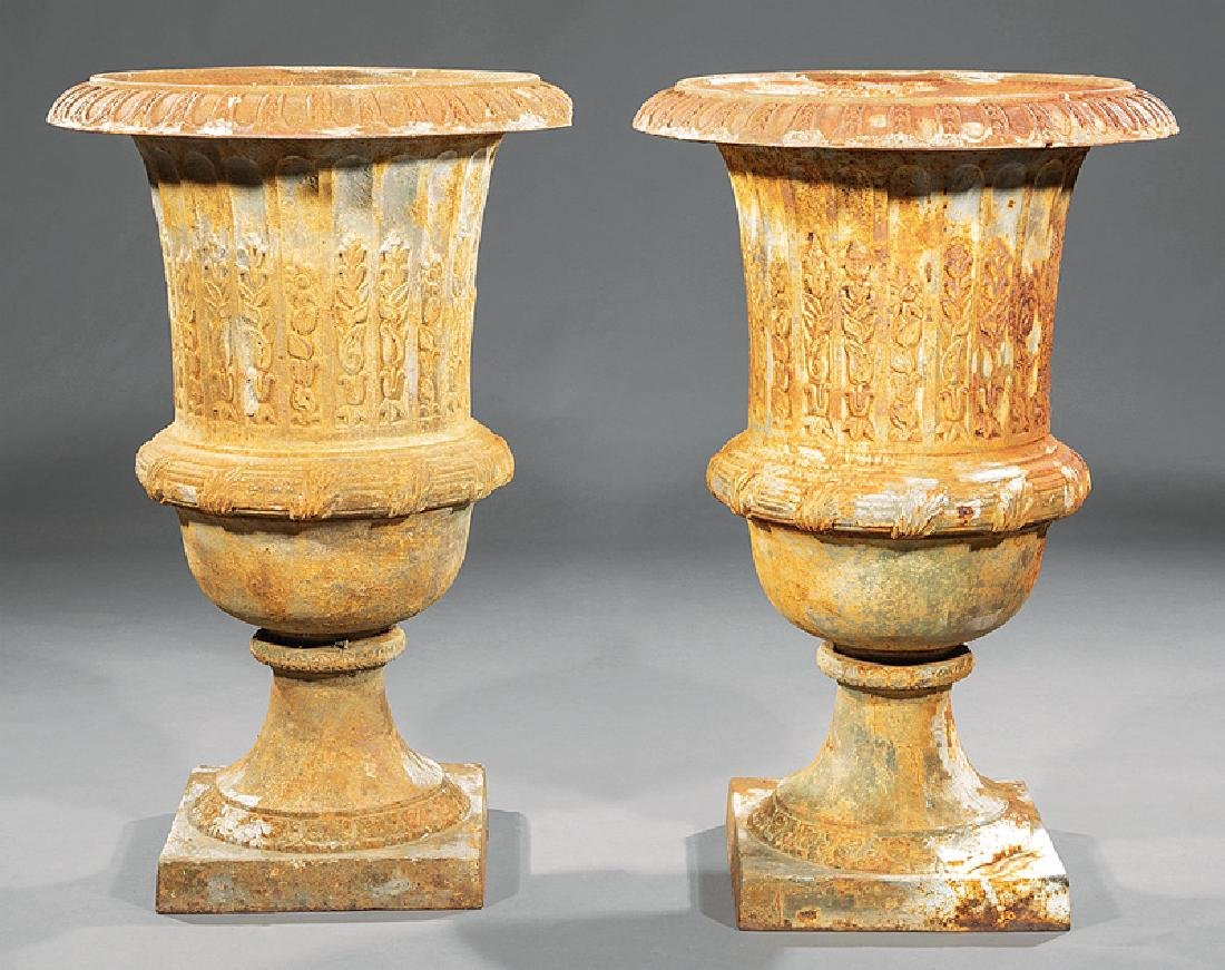 Pair of Cast Iron Campagna-Form Garden Urns