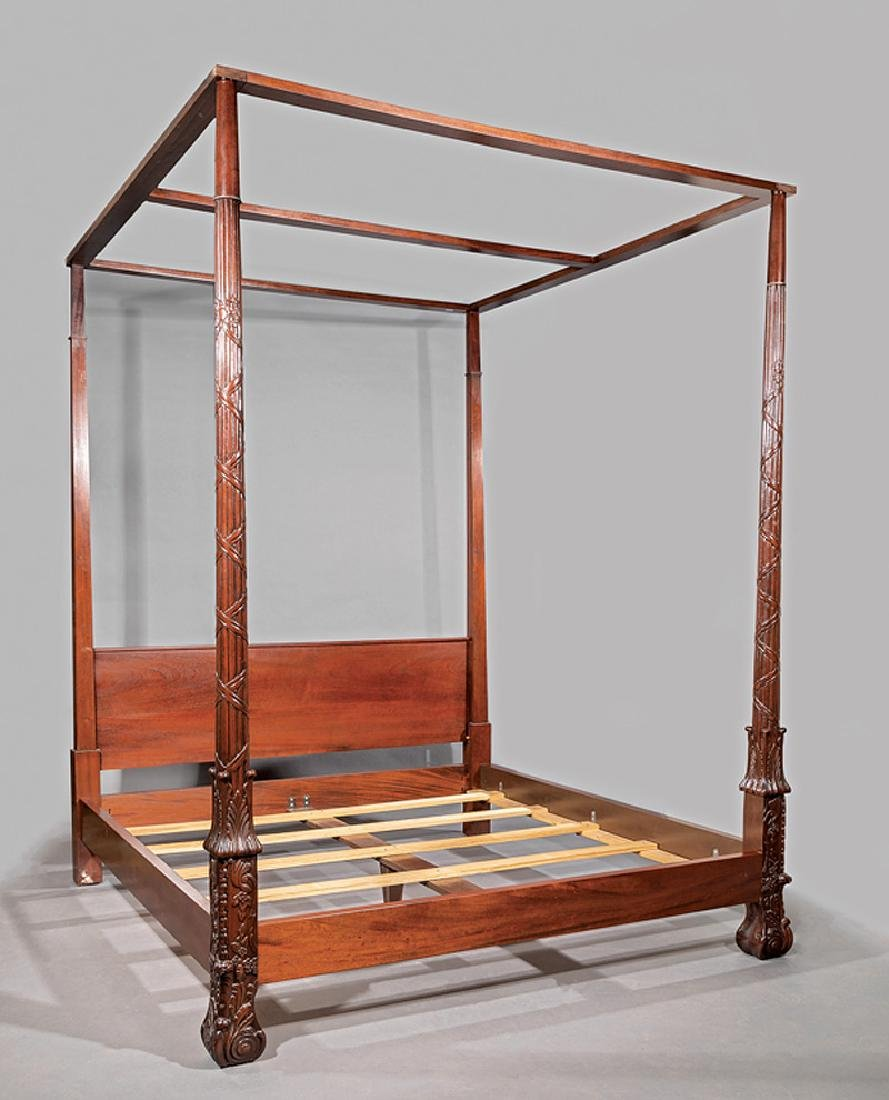 Irish Chippendale-Style Carved Mahogany Tester Bed