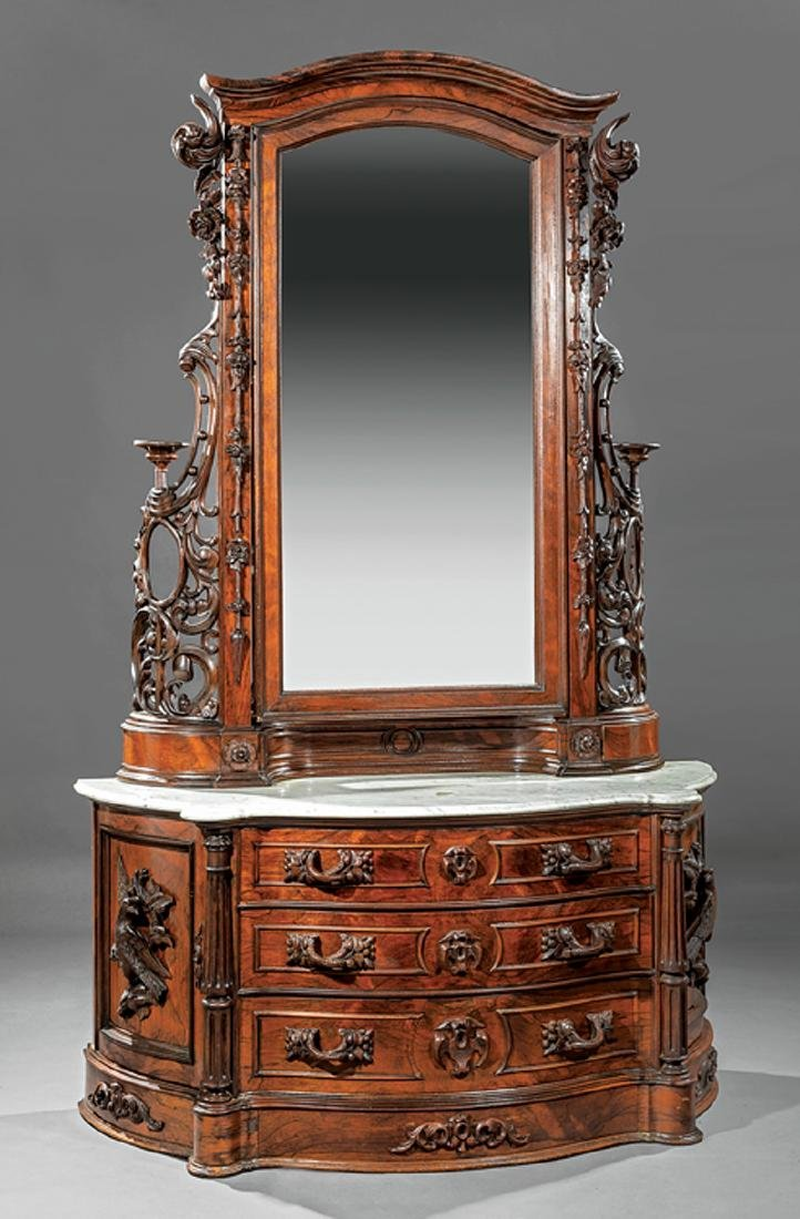 American Rococo Carved and Grained Rosewood Dresser