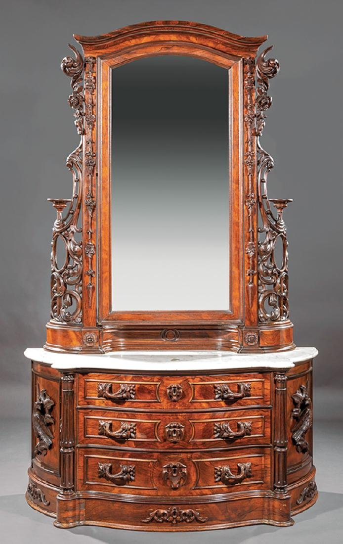 American Rococo Carved and Grained Rosewood Dresser - 2