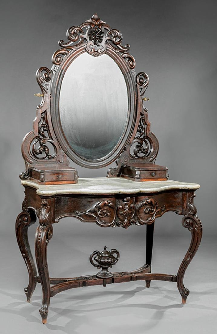 Carved and Grained Rosewood Dressing Table