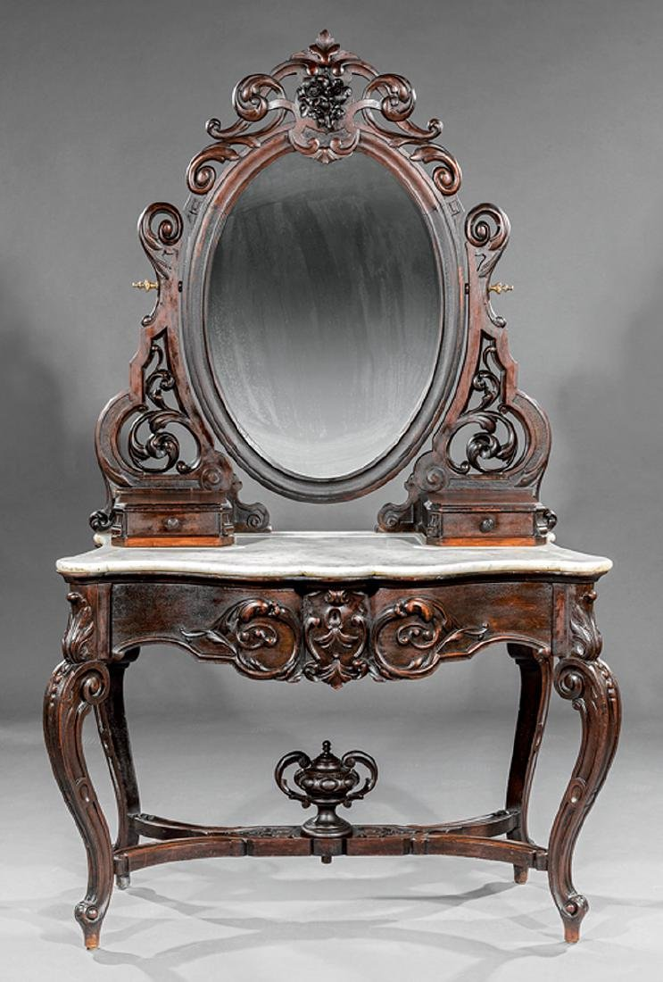 Carved and Grained Rosewood Dressing Table - 2