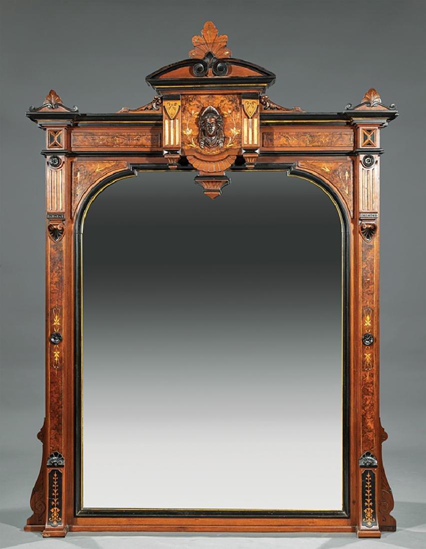 Gilt-Incised Ebonized Burled Walnut Overmantel Mirror