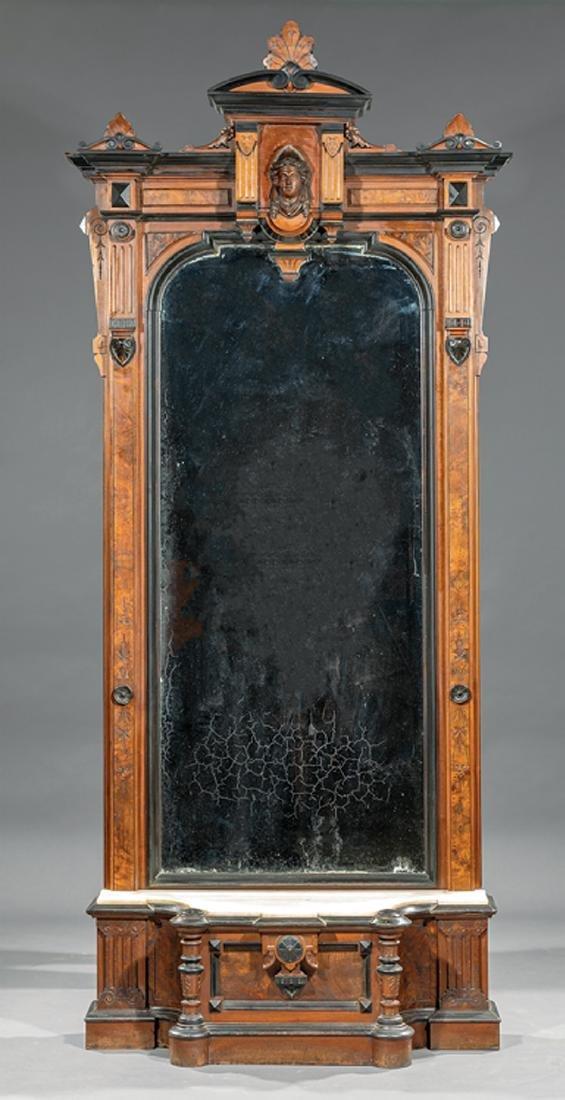 Carved, Burled and Ebonized Walnut Pier Mirror