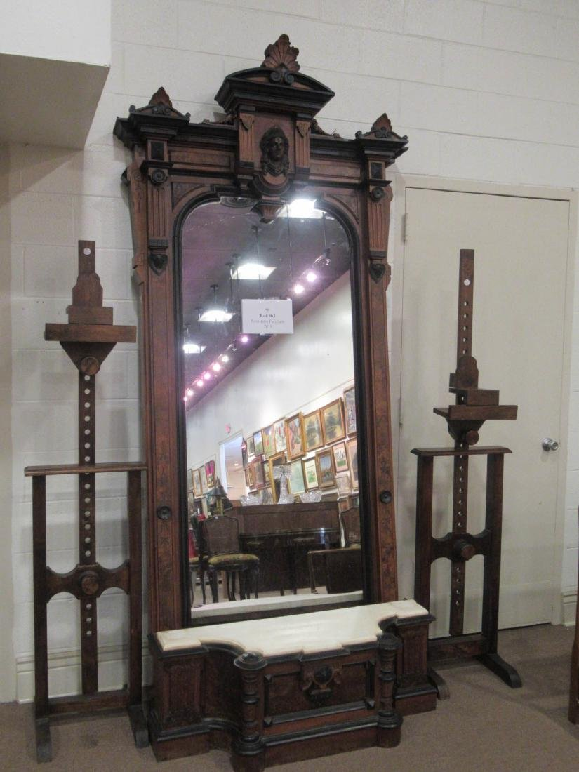 Carved, Burled and Ebonized Walnut Pier Mirror - 3